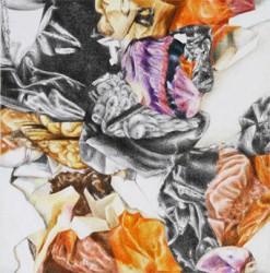 Crush, small #5, 2018, crayons de couleur sur papier, 15 X 15 cm