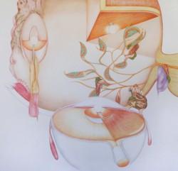 Appareil, grand #3, 2012, crayons de couleur sur papier 96 X 96 cm