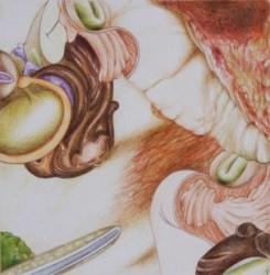 Microcosme #8, 2012, mine de plomb et crayons de couleur sur papier, 15 X 15 cm