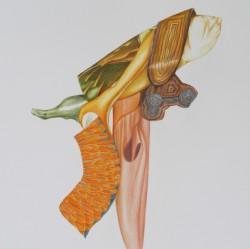 Ikebana #1, crayons de couleur et feutres sur papier, 40 X 40 cm