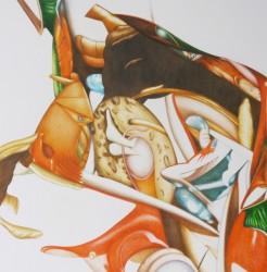 Ikebana #5, crayons de couleur sur papier, 40 X 40 cm