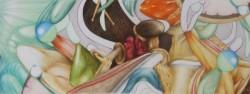 Microcosme, panoramique #1, 2013, crayons de couleur et feutres sur papier, 15 X 40 cm