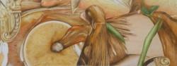 Microcosme, panoramique #3, 2013, crayons de couleur et feutres sur papier, 15 X 40 cm