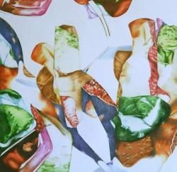 Crush #5, 2017, crayons de couleur sur papier, 40 X 40 cm